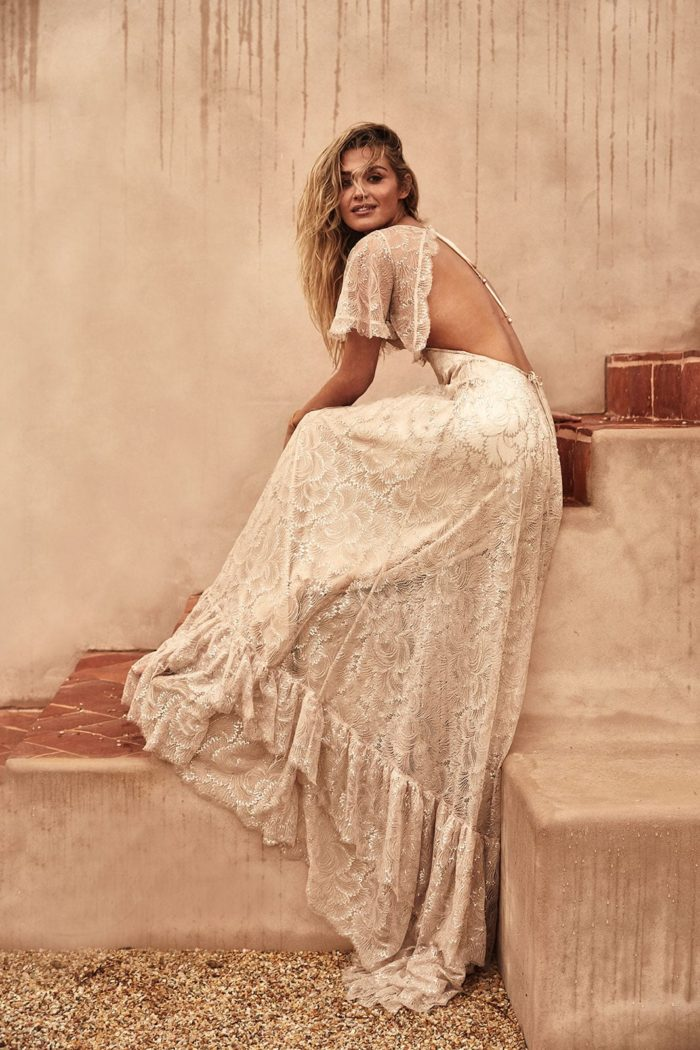 Flutter sleeve open back lace boho wedding dress