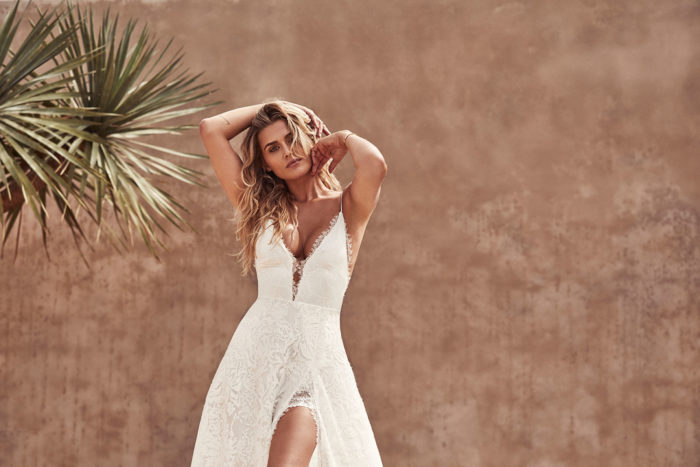 Darling from Grace Loves Lace |Lace boho plunge neck wedding dress