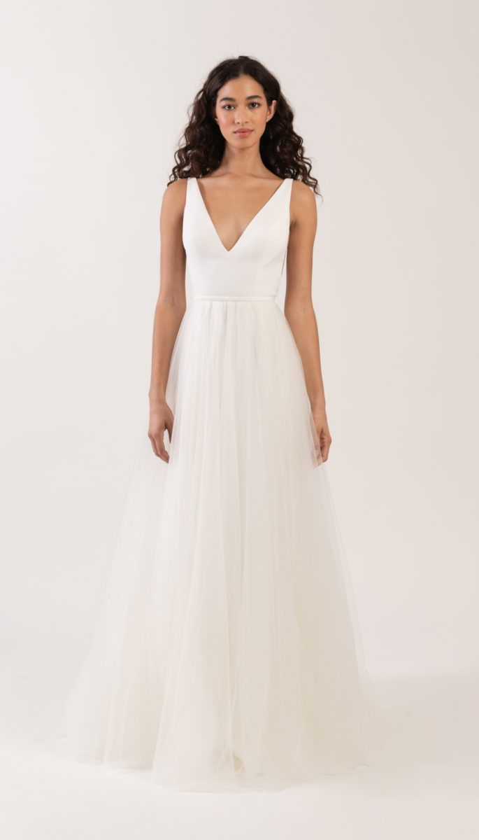 V neck wedding dress by Jenny by Jenny Yoo Neve and Evie