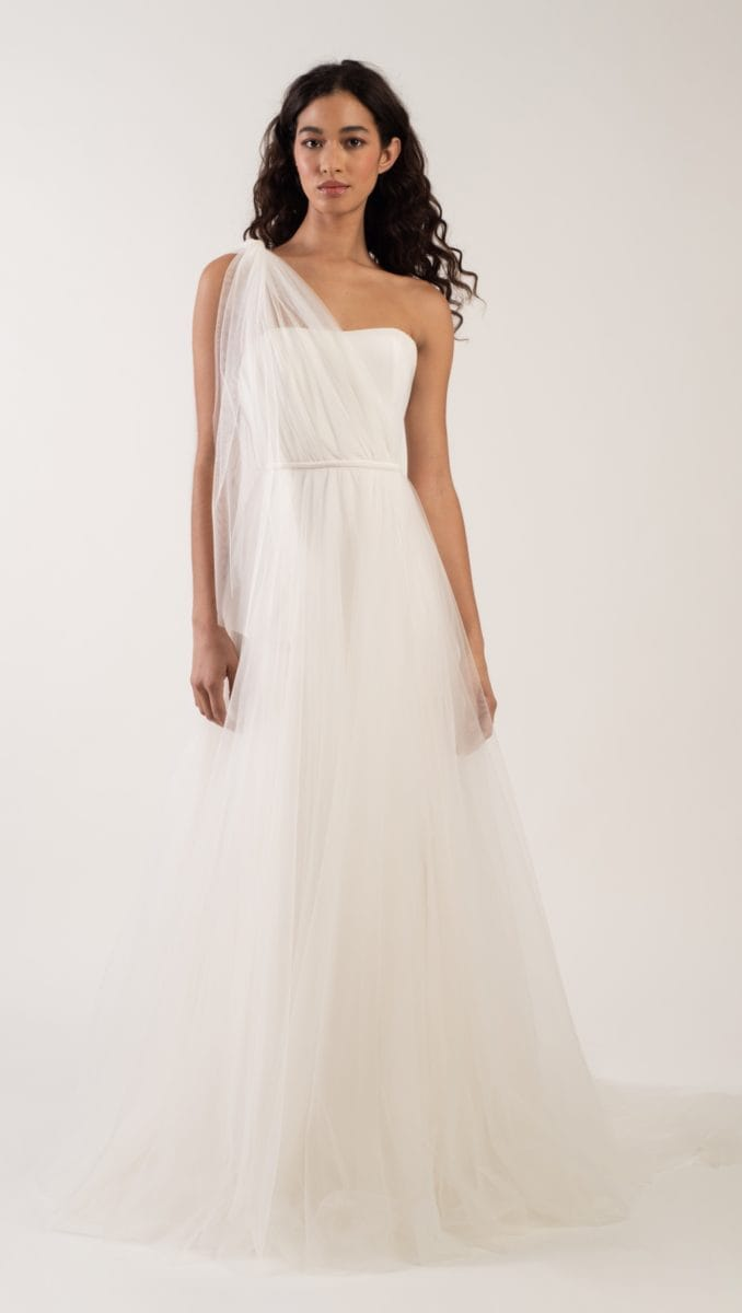 Evie Convertible tulle wedding dress with different necklines