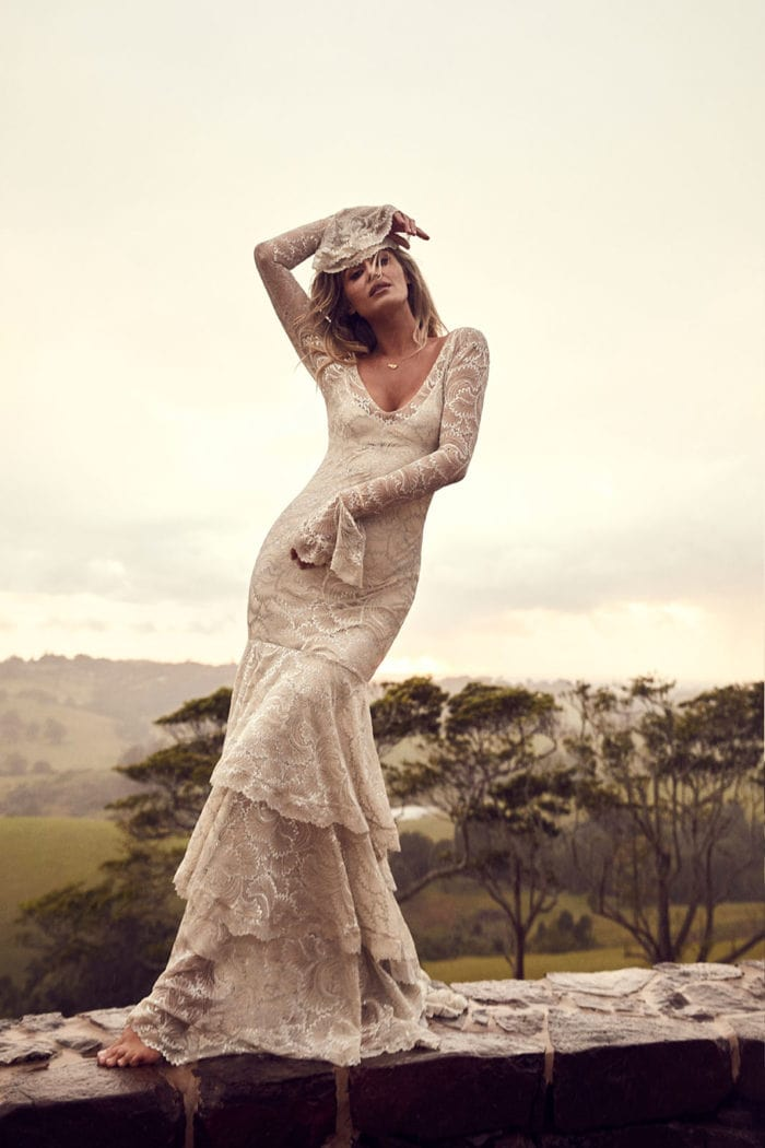 Farrow Grace Loves Lace Long sleeve tiered boho wedding dress