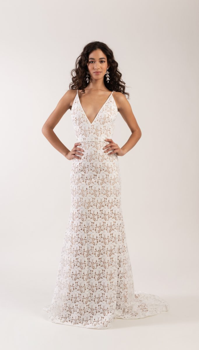 Lace spaghetti strap wedding dress Lennon gown Jenny by Jenny Yoo