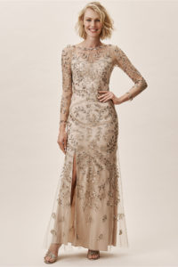 Long sleeve gold or neutral mother of the bride Mother of the Bride or Groomdress with beading