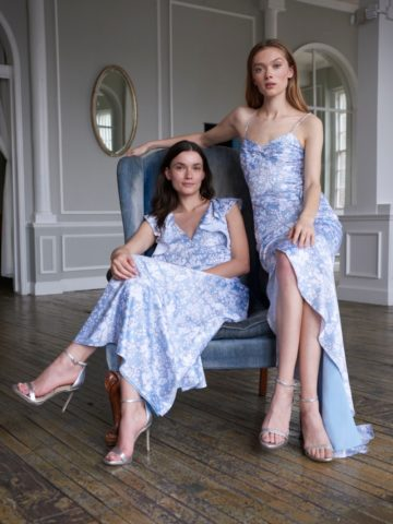 Pale blue floral bridesmaid dresses | Kinley and Jocie Monique Lhuillier Bridesmaid dresses 2020