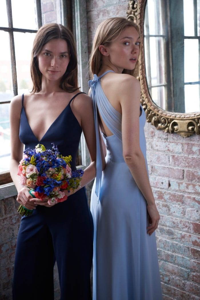 Light blue and navy blue dresse and jumpsuit by Monique Lhuilllier Bridesmaids for Spring 2020