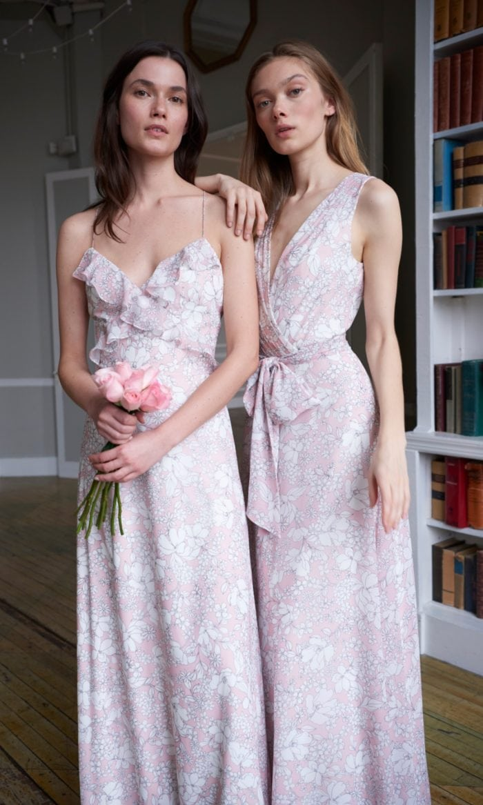 Floral print bridesmaid dresses by Monique Lhuillier