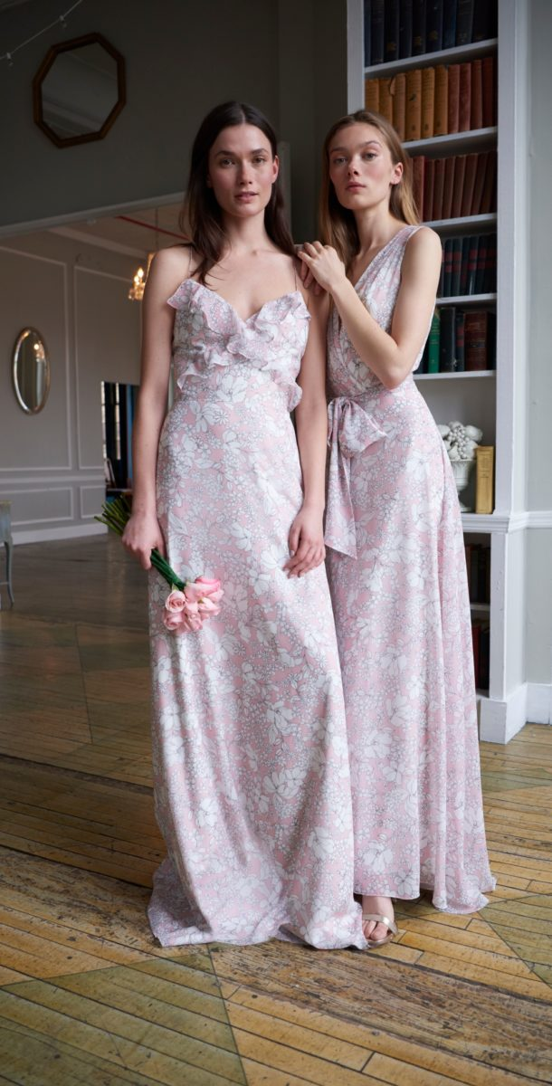 Ruffled floral spring 2020 bridesmaid dresses by Monique Lhuillier Genevieve and Charlotte