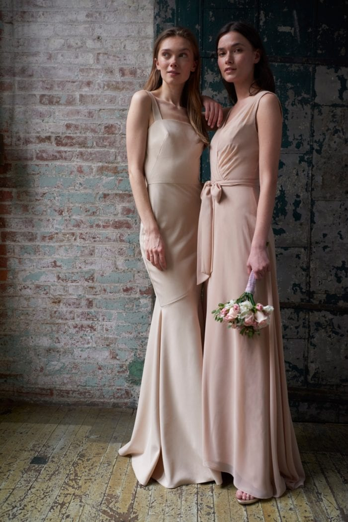 Celine and Reese Neutral Bridesmaid Dresses by Monique Lhuillier Bridesmaid Dresses