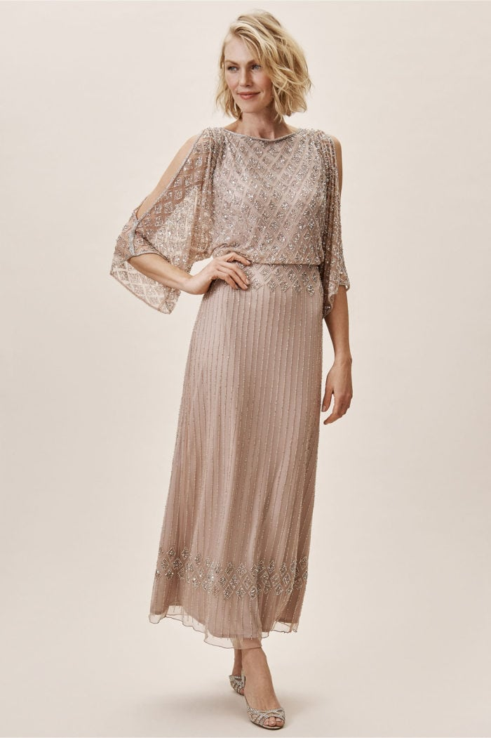 Sequined mother-of-the-bride dress with sleeves 2019