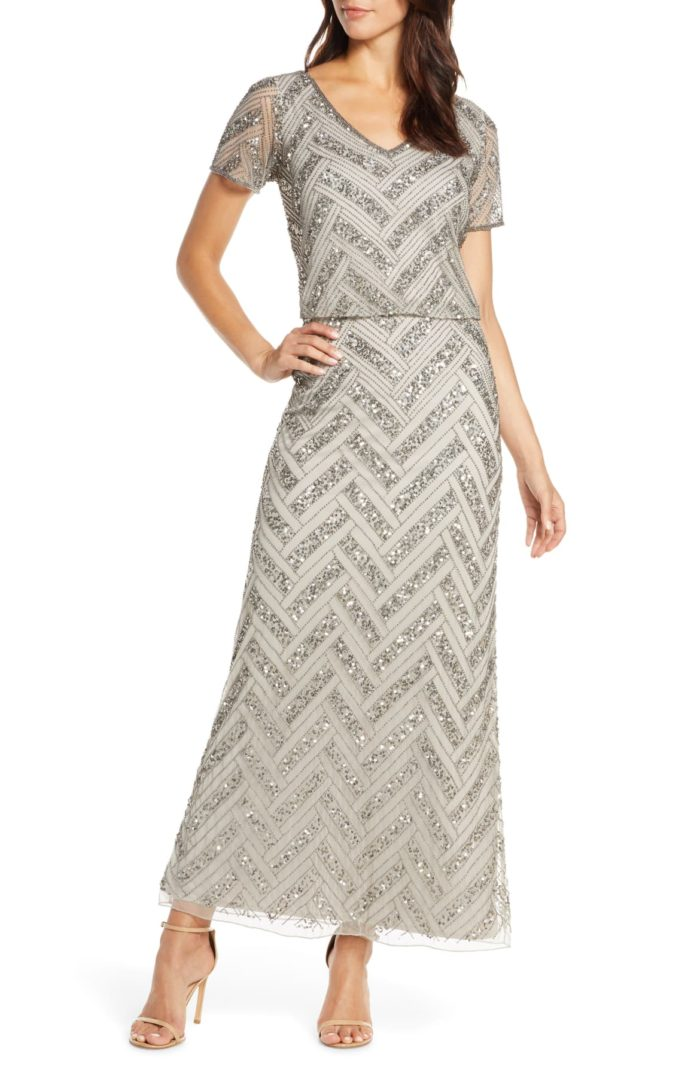 Silver beaded gown with short sleeves and chevron beading ankle length mother of the bride formal gown