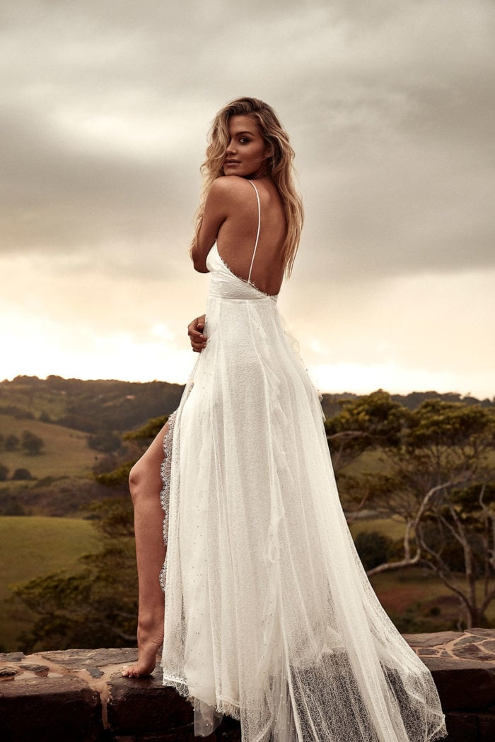 Strappy boho wedding dress