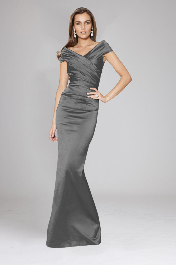 Dark grey stretch satin off-the-shoulder gown