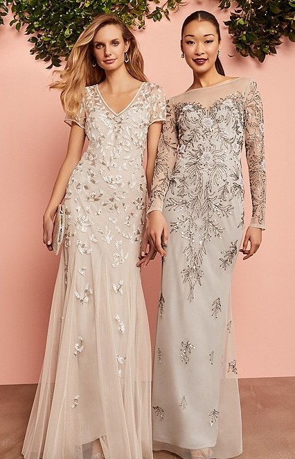 Neutral champagne and silver gold MOB dresses