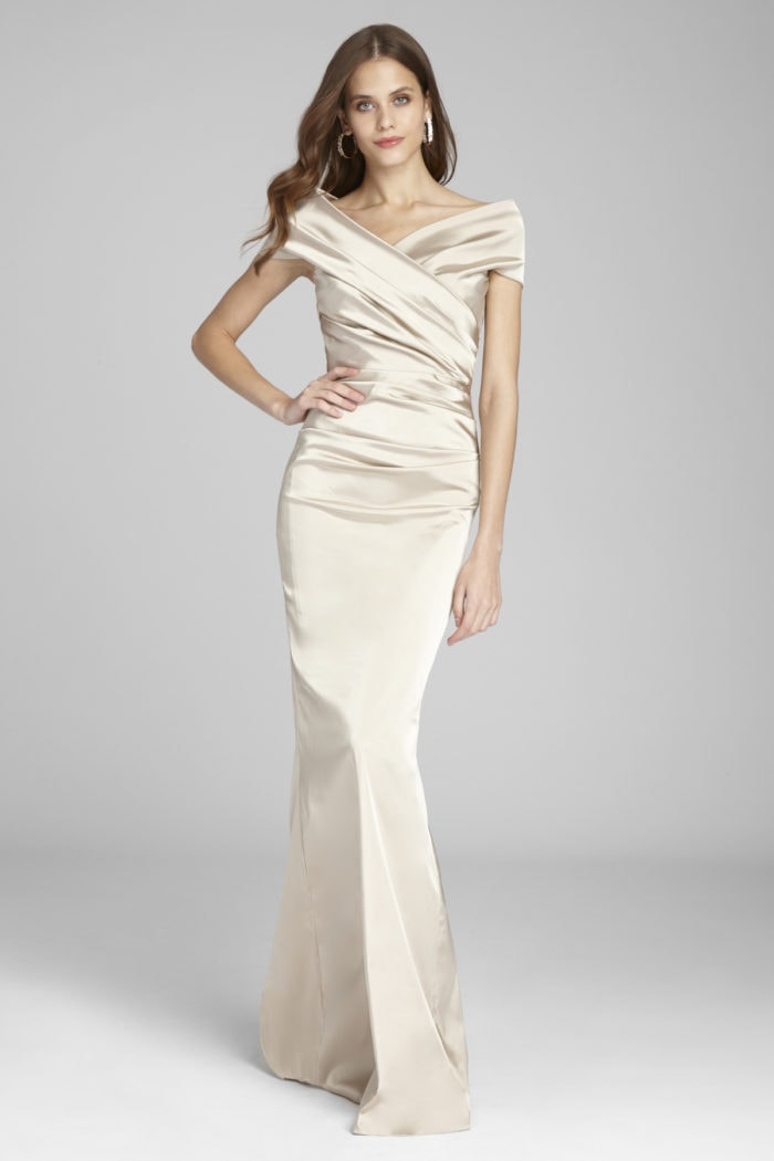 off the shoulder champagne gown with portrait collar for mother of the bride or groom by Teri Jon