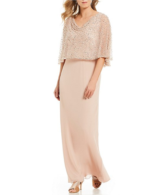 popover cape mother of the bride gown in blush sequins