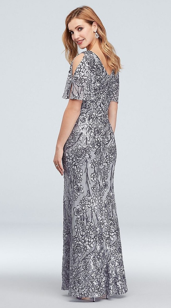 Cold shoulder mother of the bride dress with silver sequins