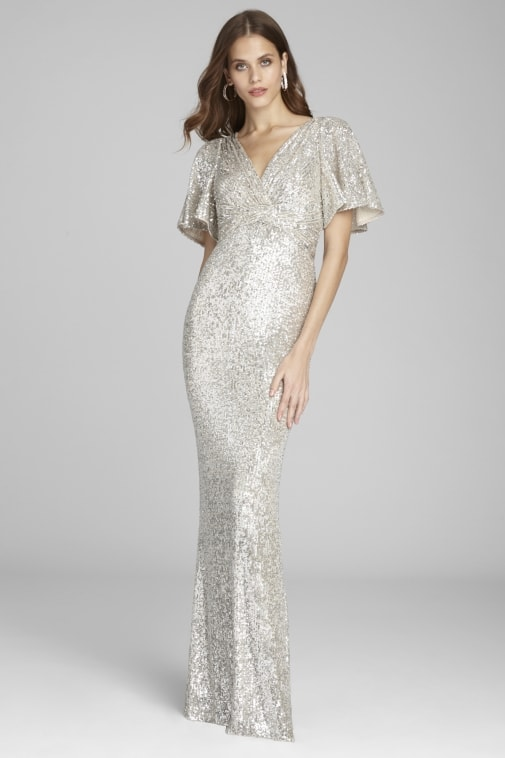 Pale gold sequin short sleeve formal gown for Mother of the Bride