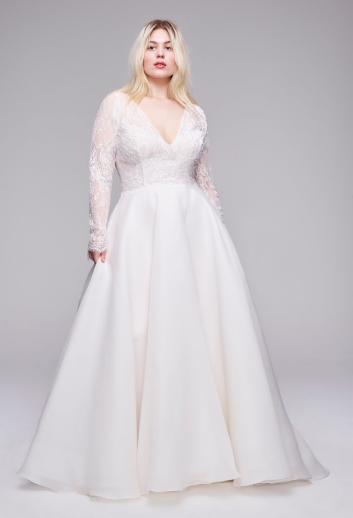 Long sleeve A line wedding dress with lace bodice Chrissy Anne Barge