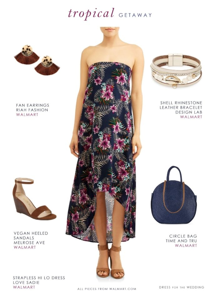 Affordable honeymoon outfit with tropical print strapless dress from Walmart