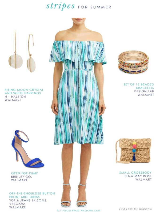 off the shoulder striped blue dress for summer 2019