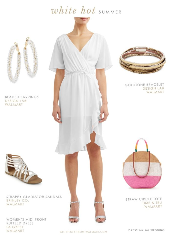 White summer outfit with affordable white wrap dress