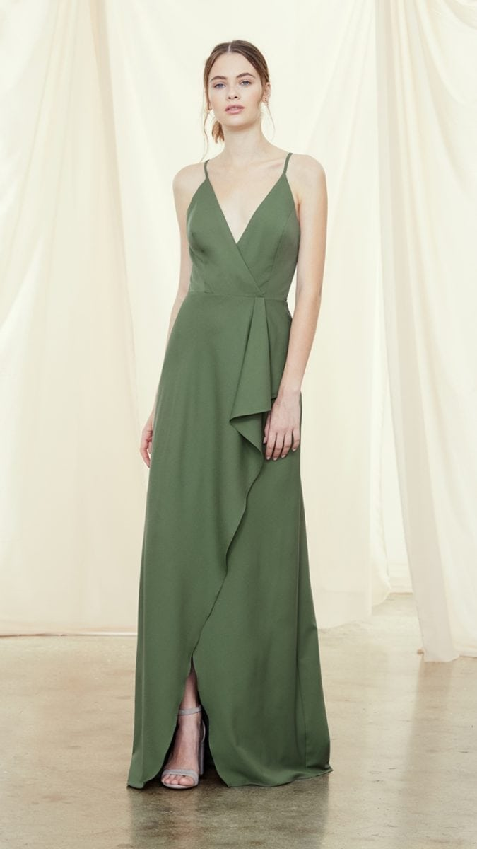 Amsale Olive green bridesmaid dress