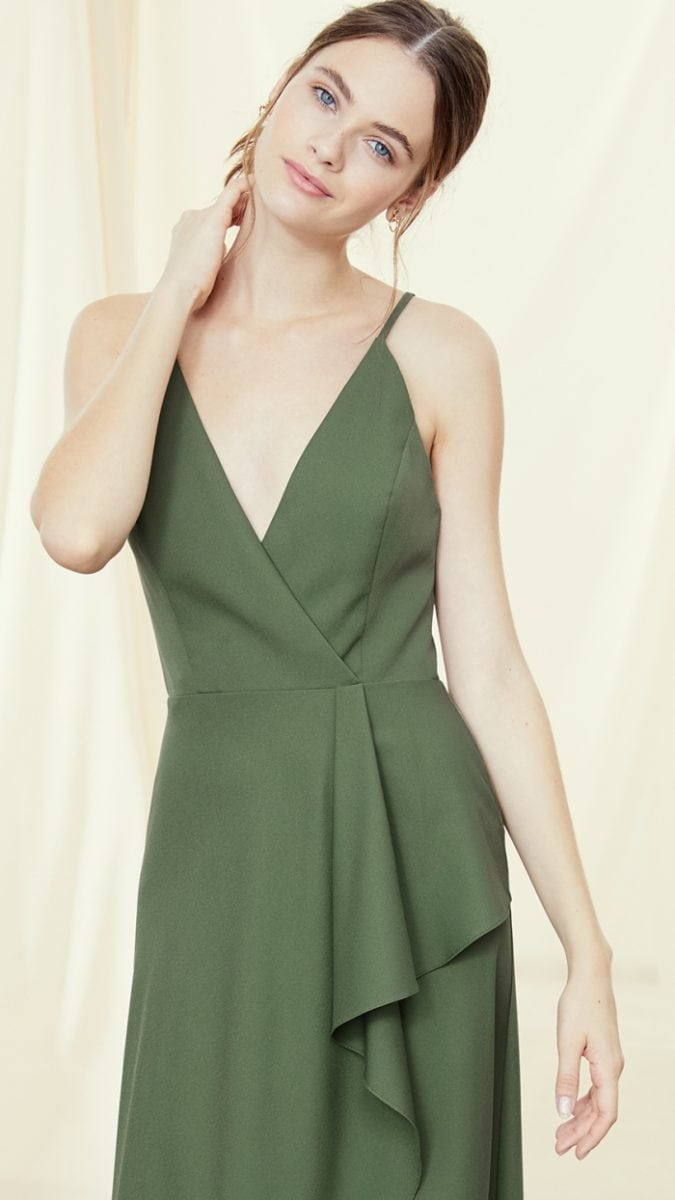 Wrap style bodice green Amsale Fall 2019 Bridesmaid Dresses