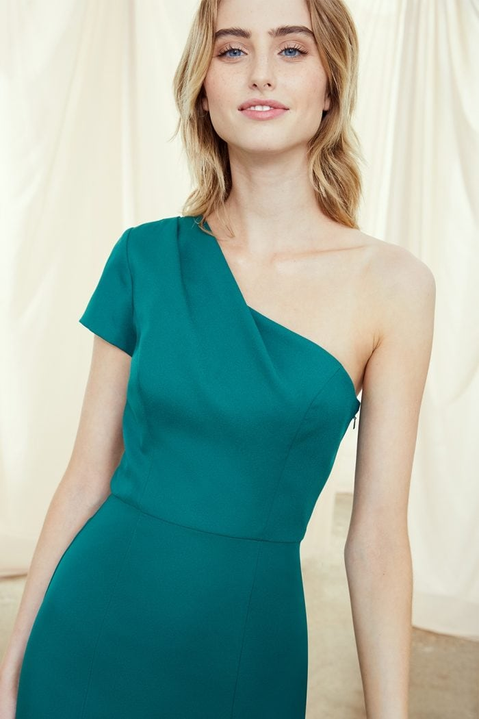 One sleeve jade green gown