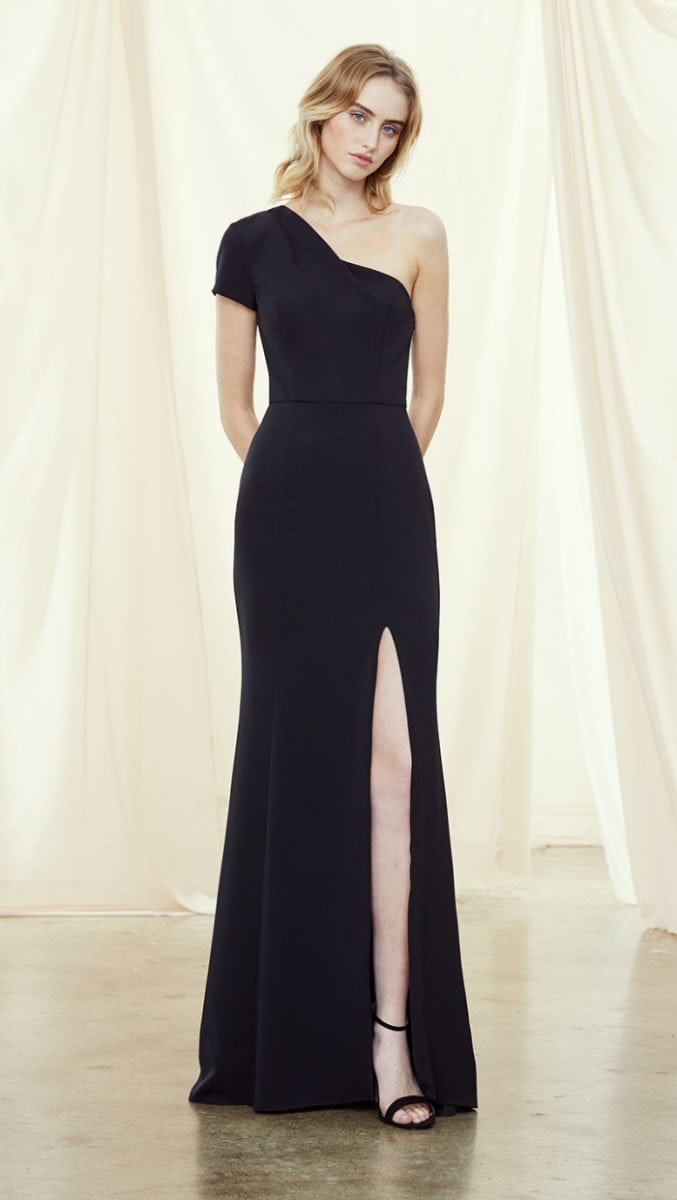 One shoulder navy bridesmaid gown