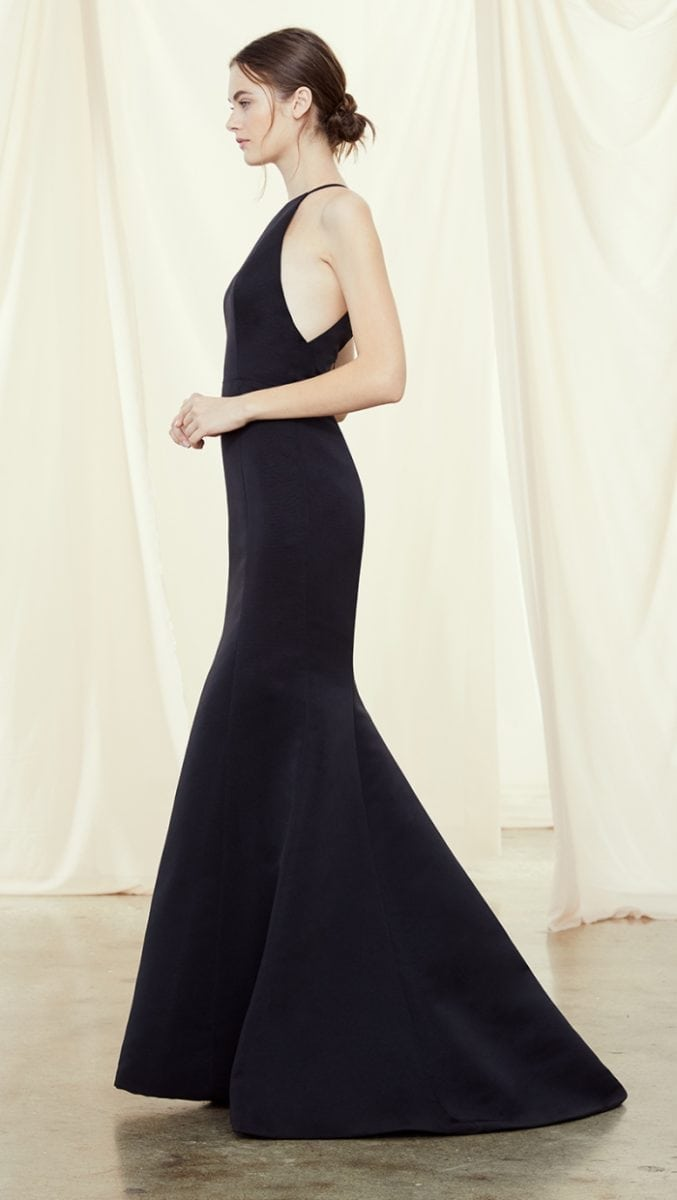 Chic black long bridesmaid dress by Amsale