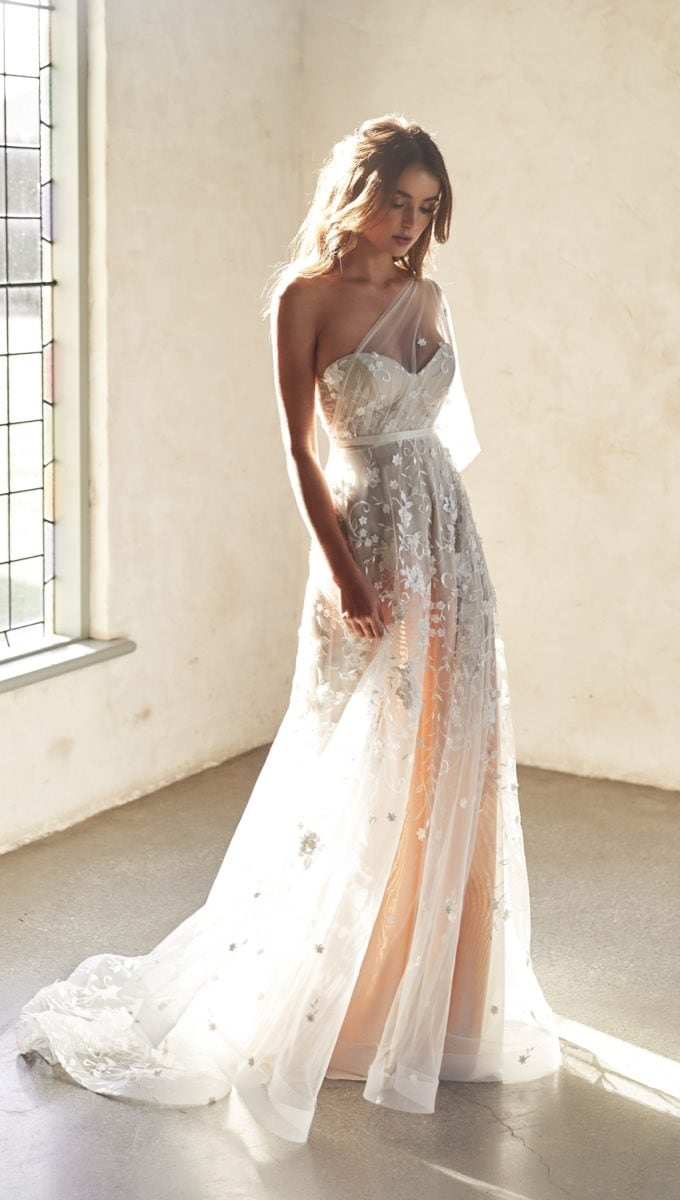 One shoulder modern tull bridal gown