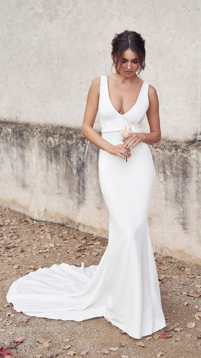 Deep v neck fitted wedding dress