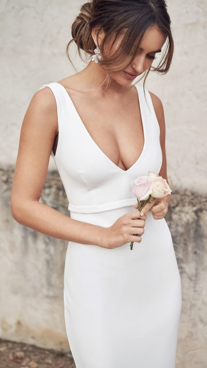 Cleo deep v neck wedding gown by Anna Campbell
