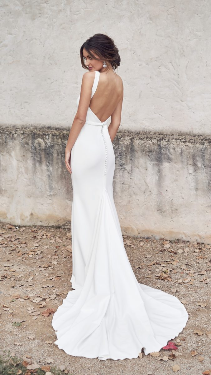 Low Back Clean Wedding Dress