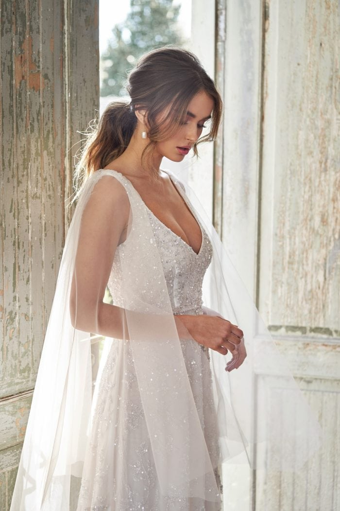 Beaded Eden Bridal Gown with Sheer Draped Sleeves