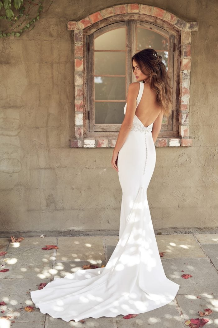 Open back fitted wedding dress by Anna Campbell