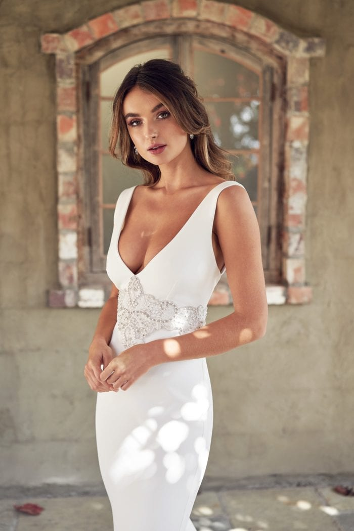 Beaded waist panel v necck bridal gown