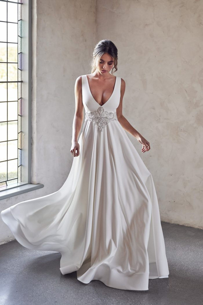 Goddess v neck flowy wedding dress