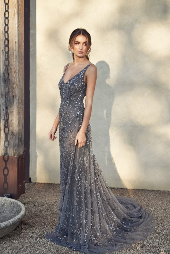Grey beaded bridal gown