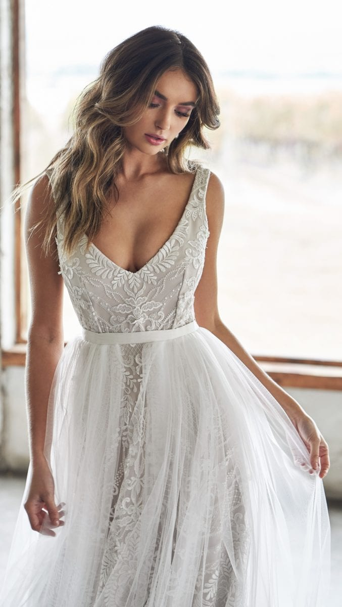 Lexi Gown with Bridal Tulle Overskirt