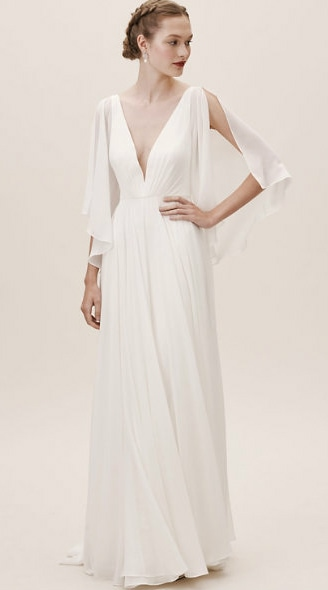 Plunge neck flutter sleeve wedding dress