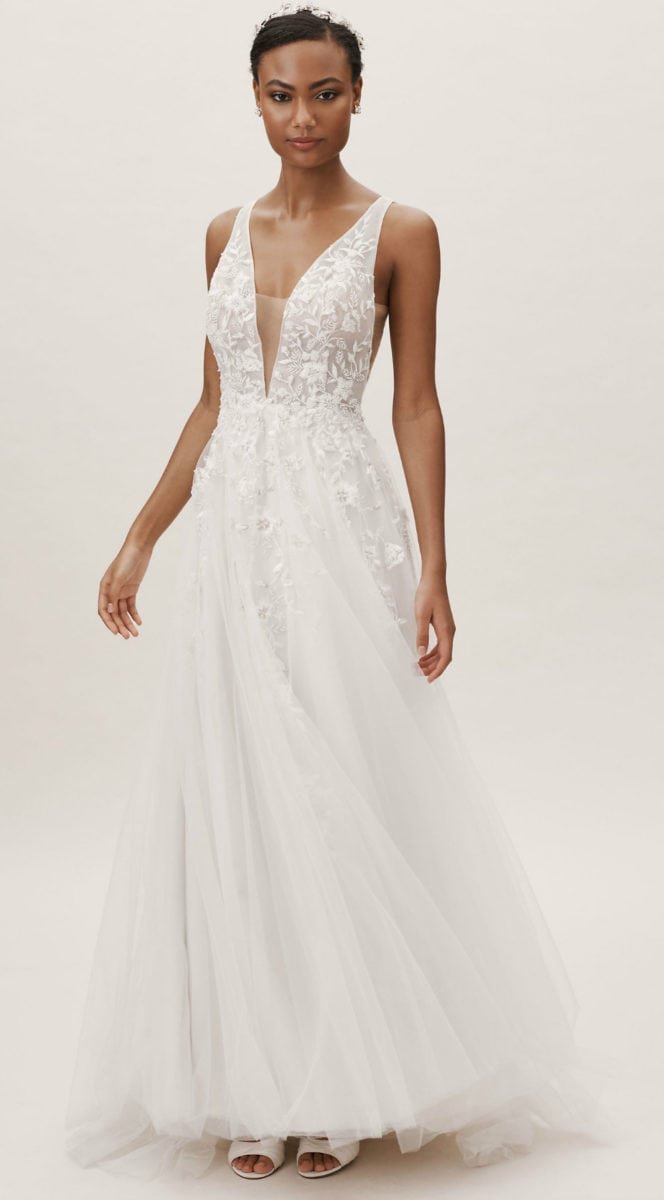 Illusion plunge neck wedding dress with applique Wtoo by Watters Seeley Gown