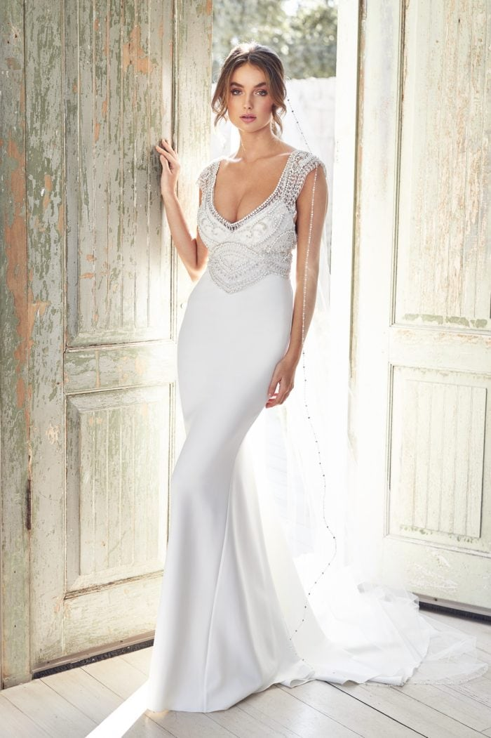 Wedding Dress with Beaded Straps and Bodice