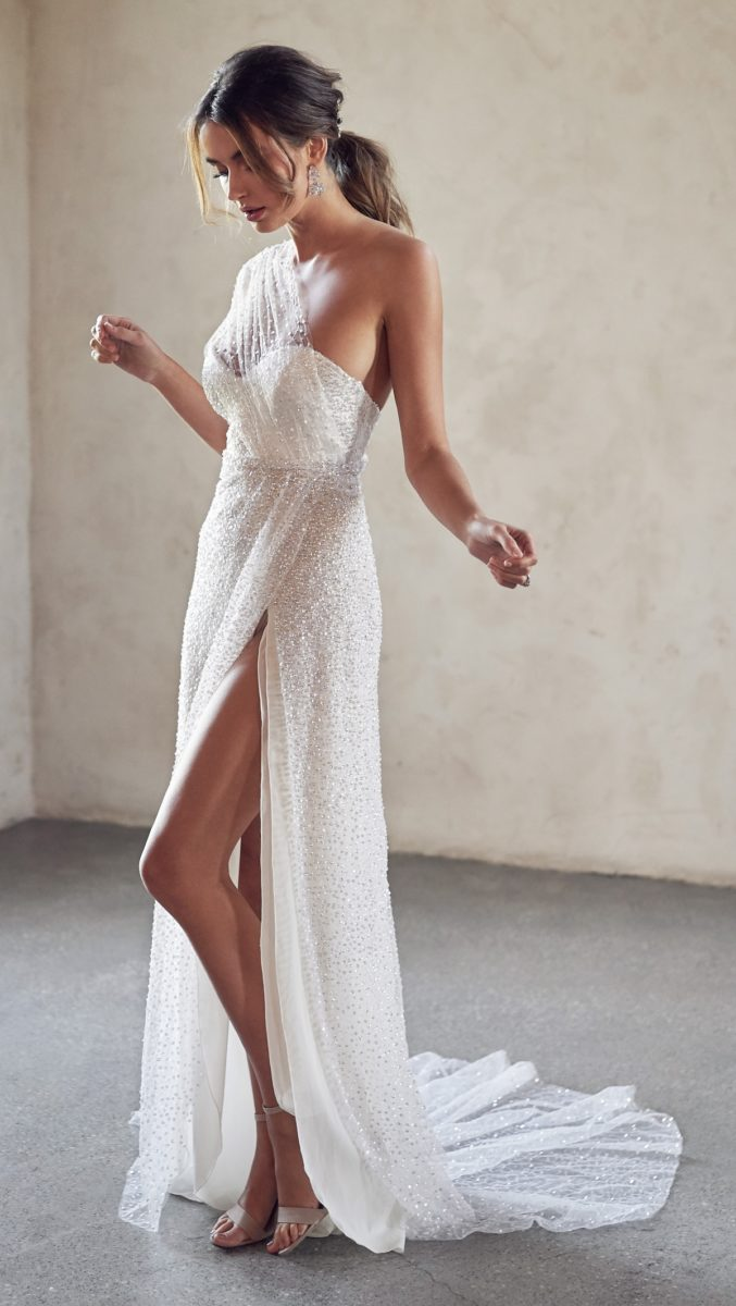 Sequin wedding dress with slide slit