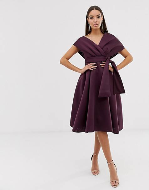 Purple portrait collar wedding guest dress