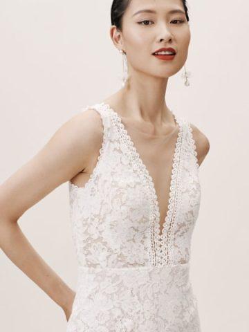 lace plunge neck wedding dress