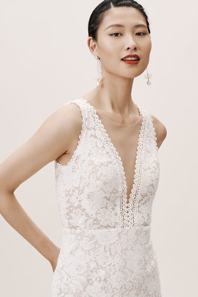 lace plunge neck wedding dress