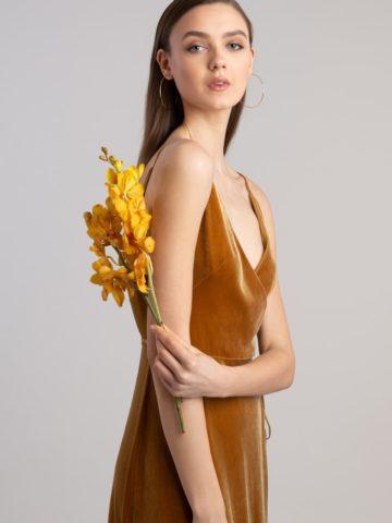 Golden spaghetti strap velvet gown