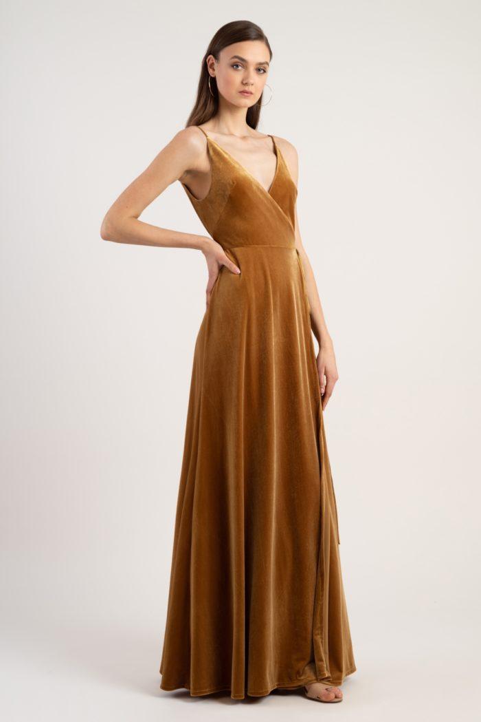 Gold velvet bridesmaid dress