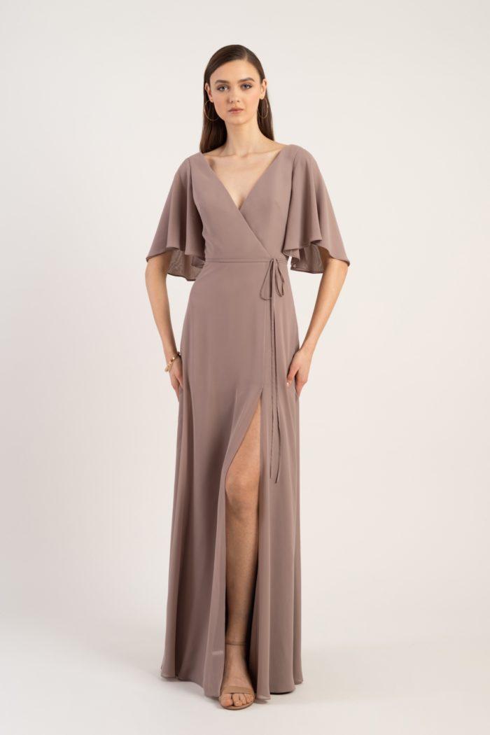 Flutter sleeve wrap dress bridesmaid dresses